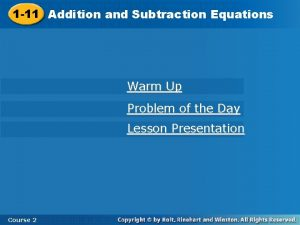 and Subtraction Equations 1 11 Addition and Subtraction