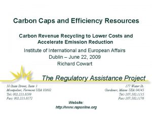 Carbon Caps and Efficiency Resources Carbon Revenue Recycling