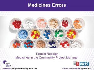 Medicines Errors Tamsin Rudolph Medicines in the Community
