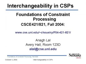 Interchangeability in CSPs Foundations of Constraint Processing CSCE