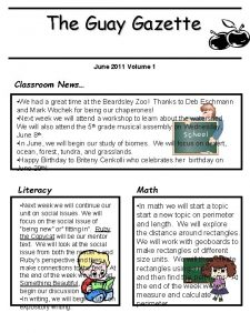 The Guay Gazette June 2011 Volume 1 Classroom