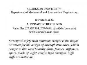 CLARKSON UNIVERSITY Department of Mechanical and Aeronautical Engineering