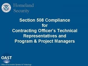 Homeland Security Section 508 Compliance for Contracting Officers