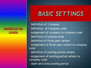 Definition CONTENTS OF THE COURSE of Company Definition