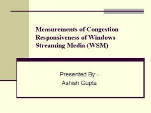 Measurements of Congestion Responsiveness of Windows Streaming Media