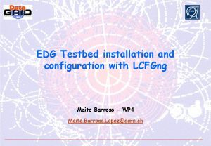 EDG Testbed installation and configuration with LCFGng Maite