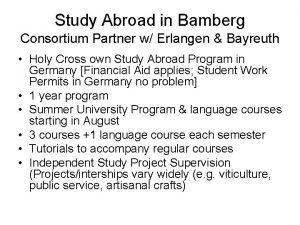Study Abroad in Bamberg Consortium Partner w Erlangen