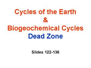 Cycles of the Earth Biogeochemical Cycles Dead Zone