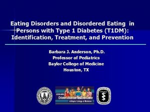 Eating Disorders and Disordered Eating in Persons with