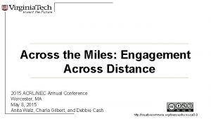 Across the Miles Engagement Across Distance 2015 ACRLNEC