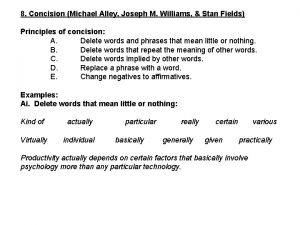 8 Concision Michael Alley Joseph M Williams Stan