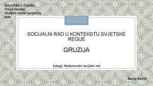 Sveuilite u Zagrebu Pravni fakultet Studijski centar socijalnog