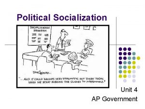Political Socialization Unit 4 AP Government Many people