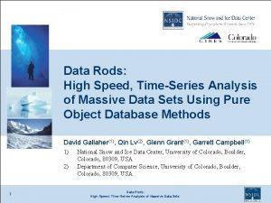 Data Rods High Speed TimeSeries Analysis of Massive