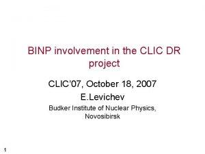 BINP involvement in the CLIC DR project CLIC