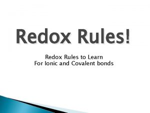 Redox Rules Redox Rules to Learn For Ionic