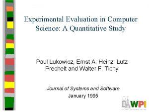 Experimental Evaluation in Computer Science A Quantitative Study