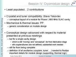 Session IV Cryomodule design Least populated 2 contributions