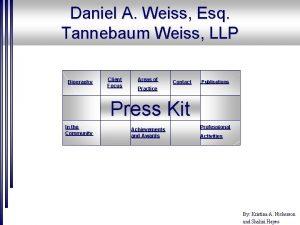 Daniel A Weiss Esq Tannebaum Weiss LLP Biography