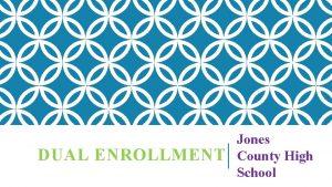 DUAL ENROLLMENT Jones County High School DUAL ENROLLMENT