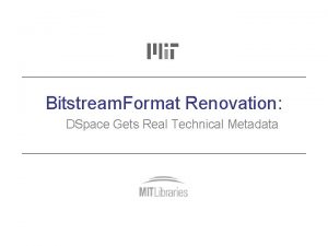 Bitstream Format Renovation DSpace Gets Real Technical Metadata