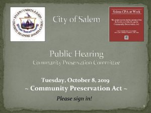 City of Salem Public Hearing Community Preservation Committee