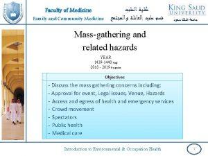 Faculty of Medicine Family and Community Medicine Massgathering