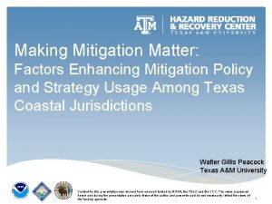 Making Mitigation Matter Factors Enhancing Mitigation Policy and