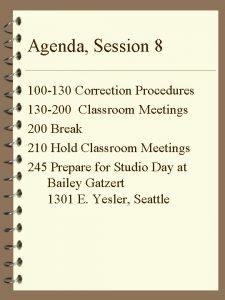 Agenda Session 8 100 130 Correction Procedures 130