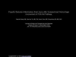 Propofol Reduces Inflammatory Brain Injury after Subarachnoid Hemorrhage