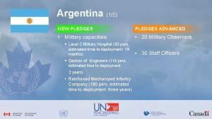 Argentina 12 NEW PLEDGES ADVANCED Military capacities 20