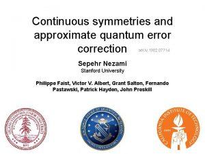 Continuous symmetries and approximate quantum error correction ar