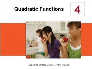 Quadratic Functions Copyright Cengage Learning All rights reserved