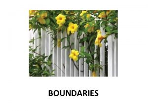 BOUNDARIES A Definition Boundaries are norms rules or