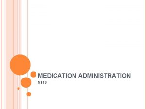 MEDICATION ADMINISTRATION N 116 WHAT IS MEDICATION Substance