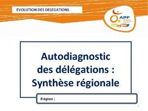 EVOLUTION DES DELEGATIONS Autodiagnostic des dlgations Synthse rgionale