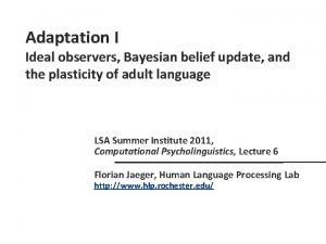 Adaptation I Ideal observers Bayesian belief update and