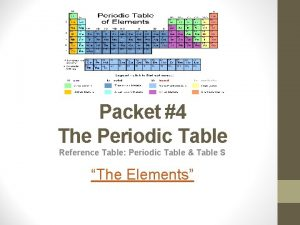 Packet 4 The Periodic Table Reference Table Periodic