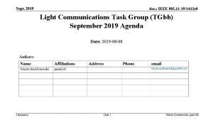 Sept 2019 doc IEEE 802 11 191413 r