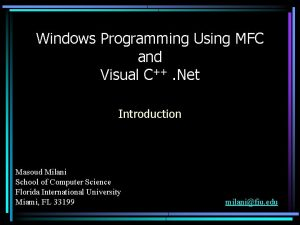 Windows Programming Using MFC and Visual C Net