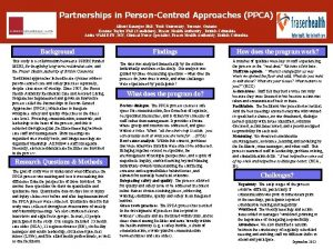 Partnerships in PersonCentred Approaches PPCA Albert Banerjee Ph