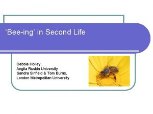 Beeing in Second Life Debbie Holley Anglia Ruskin