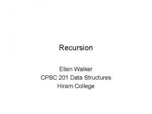 Recursion Ellen Walker CPSC 201 Data Structures Hiram