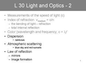 L 30 Light and Optics 2 Measurements of