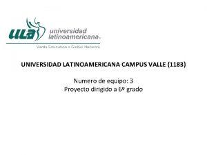 UNIVERSIDAD LATINOAMERICANA CAMPUS VALLE 1183 Numero de equipo