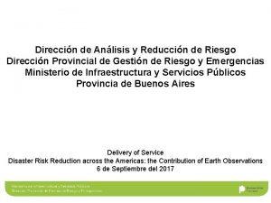Direccin de Anlisis y Reduccin de Riesgo Direccin