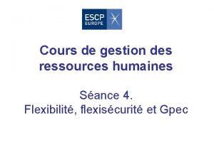 Cours de gestion des ressources humaines Sance 4
