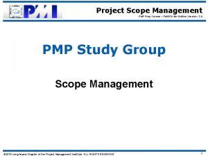 Project Scope Management PMP Prep Course PMBOK 4