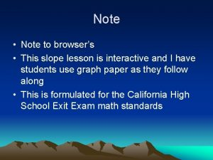 Note Note to browsers This slope lesson is