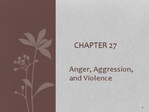 CHAPTER 27 Anger Aggression and Violence 1 Anger
